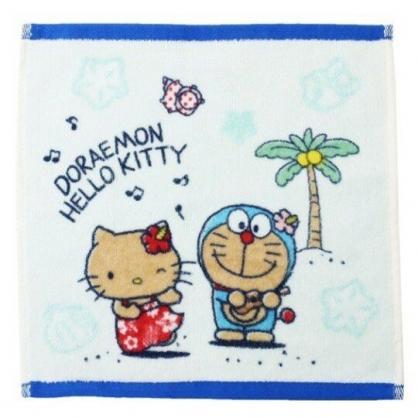 小禮堂 Hello Kitty x 哆啦A夢 方巾 手帕 小毛巾 純棉 割絨 25x25cm (藍白 沙灘)