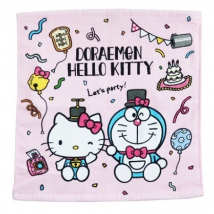小禮堂 Hello Kitty x 哆啦A夢 短毛巾 方形毛巾 純棉 割絨 34x36cm (粉 變裝)