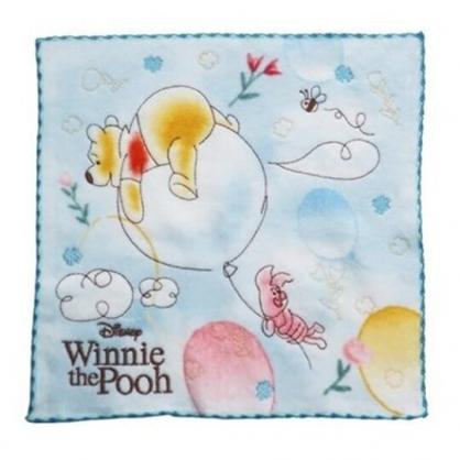 小禮堂 迪士尼 小熊維尼 方巾 手帕 小毛巾 純棉 割絨 25x25cm (藍黃 汽球)