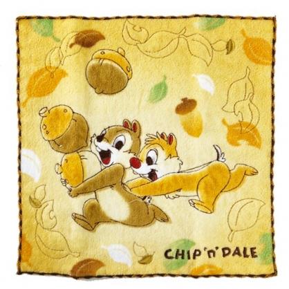 小禮堂 迪士尼 奇奇蒂蒂 方巾 手帕 小毛巾 純棉 無捻紗 25x25cm (棕橘 松果)