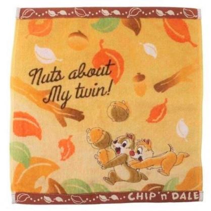 小禮堂 迪士尼 奇奇蒂蒂 短毛巾 方形毛巾 純棉 割絨 34x36cm (橘棕 松果)