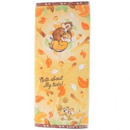小禮堂 迪士尼 奇奇蒂蒂 長毛巾 長巾 純棉 割絨 34x80cm (橘棕 松果)