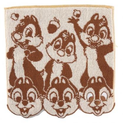 小禮堂 迪士尼 奇奇蒂蒂 方巾 手帕 小毛巾 純棉 無捻紗 25x25cm (棕米 多動作)