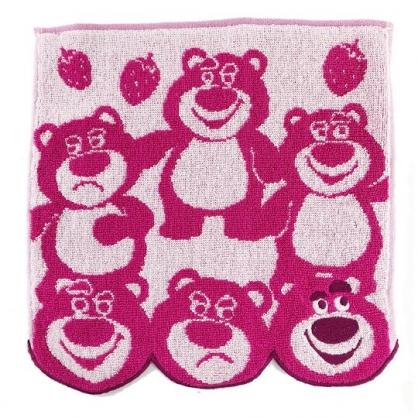 小禮堂 迪士尼 玩具總動員 熊抱哥 方巾 手帕 小毛巾 純棉 無捻紗 25x25cm (桃白 多動作)