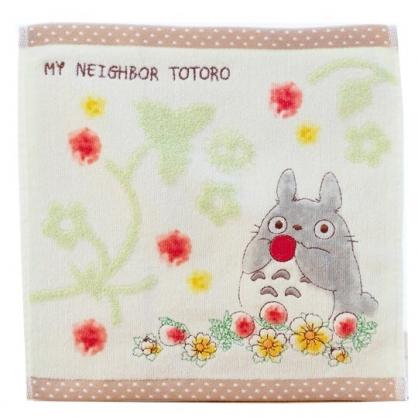 小禮堂 宮崎駿 Totoro 龍貓 方巾 手帕 小毛巾 純棉 無捻紗 25x25cm (綠棕 草莓)