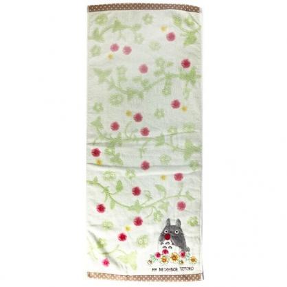 小禮堂 宮崎駿 Totoro 龍貓 長毛巾 長巾 純棉 割絨 34x80cm (綠紅 草莓)