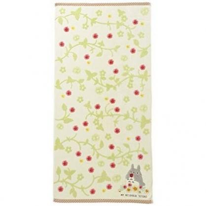小禮堂 宮崎駿 Totoro 龍貓 浴巾 毛巾 純棉 無捻紗 60x120cm (綠黃 草莓)