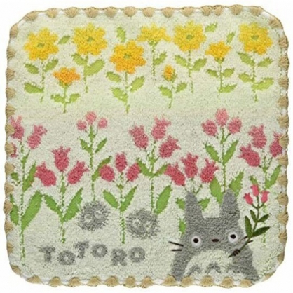 小禮堂 宮崎駿 Totoro 龍貓 方巾 手帕 小毛巾 純棉 無捻紗 25x25cm (綠黃 拿花)