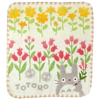 小禮堂 宮崎駿 Totoro 龍貓 短毛巾 方形毛巾 純棉 無捻紗 34x36cm (粉黃 花朵)