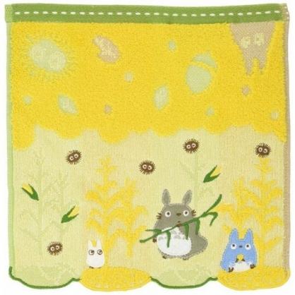 小禮堂 宮崎駿 Totoro 龍貓 方巾 手帕 小毛巾 純棉 無捻紗 25x25cm (黃綠 拿葉子)