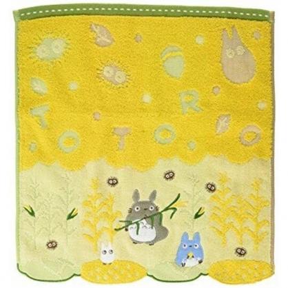 小禮堂 宮崎駿 Totoro 龍貓 短毛巾 方形毛巾 純棉 無捻紗 34x36cm (黃綠 玉米)