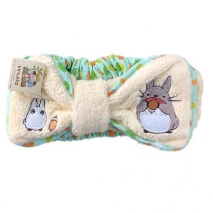 小禮堂 宮崎駿 Totoro 龍貓 毛巾布束髮帶 髮帶 髮箍 頭飾 (米綠 蝴蝶結)