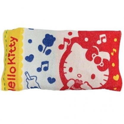 小禮堂 Hello Kitty 枕頭套 枕巾 枕套 純棉 無捻紗 抗菌防臭 34x64cm (紅藍 音符)