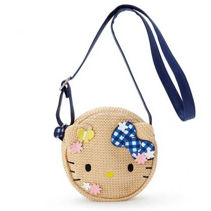 小禮堂 Hello Kitty 籐編斜背包 編織包 海灘包 兒童背包 圓形 (棕 造型耳)