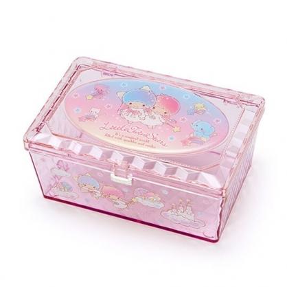 小禮堂 雙子星 收納盒 透明 方形掀蓋 置物盒 飾品盒 小物收納 (粉藍)