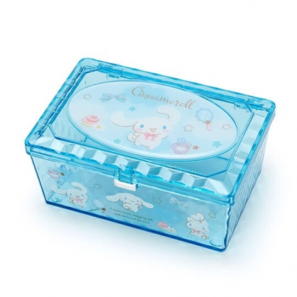 小禮堂 大耳狗 收納盒 透明 方形掀蓋 置物盒 飾品盒 小物收納 (藍)