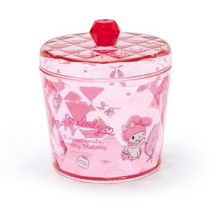 小禮堂 美樂蒂 收納罐 透明 圓形拿蓋 置物罐 棉花罐 小物收納 (粉)