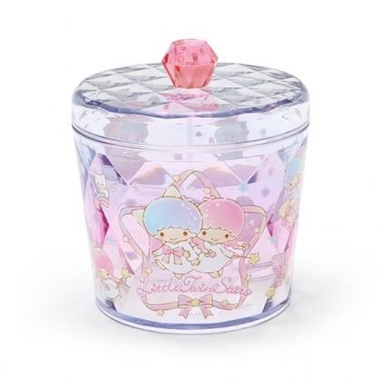 小禮堂 雙子星 收納罐 透明 圓形拿蓋 置物罐 棉花罐 小物收納 (粉白)