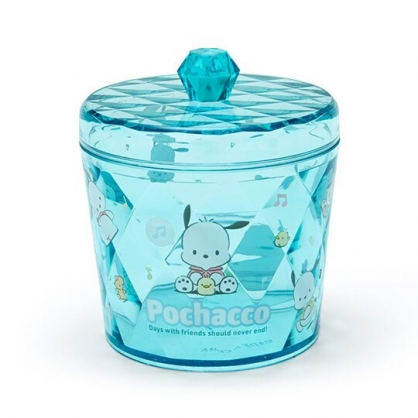 小禮堂 帕恰狗 收納罐 透明 圓形拿蓋 置物罐 棉花罐 小物收納 (藍綠)