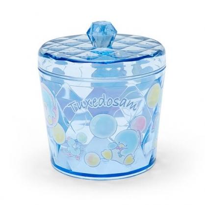 小禮堂 山姆企鵝 收納罐 透明 圓形拿蓋 置物罐 棉花罐 小物收納 (藍)