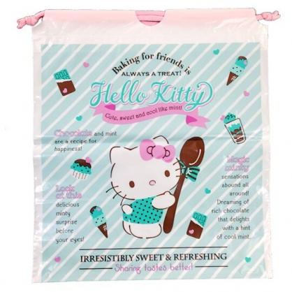 小禮堂 Hello Kitty 束口袋 防水 鞋袋 收納袋 縮口袋 防水袋 (粉綠 巧克力)