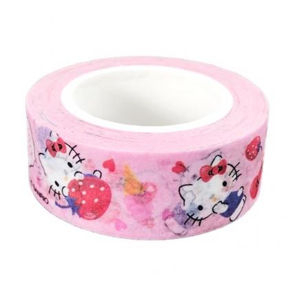 小禮堂 Hello Kitty 紙膠帶 裝飾膠帶 膠布 禮物包裝 15mmx10m (粉 草莓)