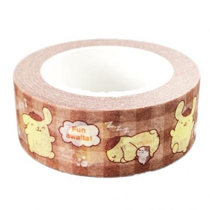 小禮堂 布丁狗 紙膠帶 裝飾膠帶 膠布 禮物包裝 15mmx10m (棕 格紋)
