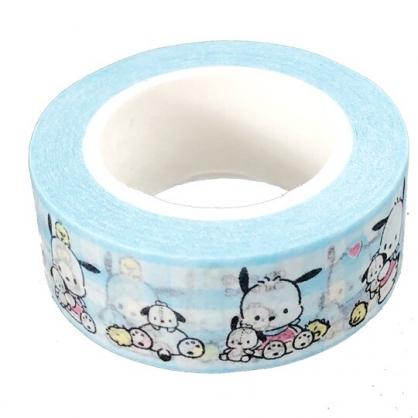 小禮堂 帕恰狗 紙膠帶 裝飾膠帶 膠布 禮物包裝 15mmx10m (藍 格紋)