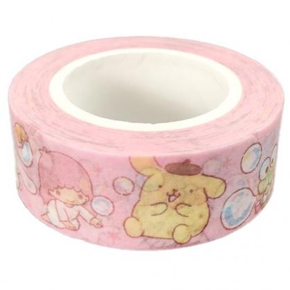 小禮堂 Sanrio大集合 紙膠帶 裝飾膠帶 膠布 禮物包裝 15mmx10m (粉 吹泡泡)