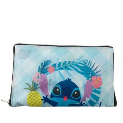 小禮堂 迪士尼 史迪奇 折疊環保購物袋 尼龍 環保袋 手提袋 (藍 花朵)