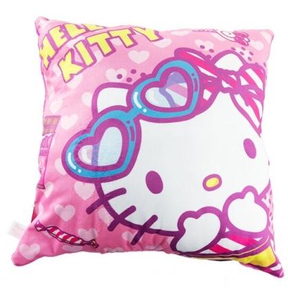 小禮堂 Hello Kitty 抱枕 靠墊 午睡枕 枕頭 方形絨毛 (桃 墨鏡)