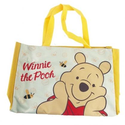 小禮堂 迪士尼 小熊維尼 側背袋 托特包 肩背袋 購物袋 橫式尼龍 (黃 大臉)