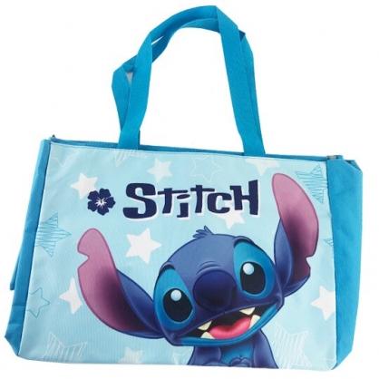 小禮堂 迪士尼 史迪奇 側背袋 托特包 肩背袋 購物袋 橫式尼龍 (藍 大臉)
