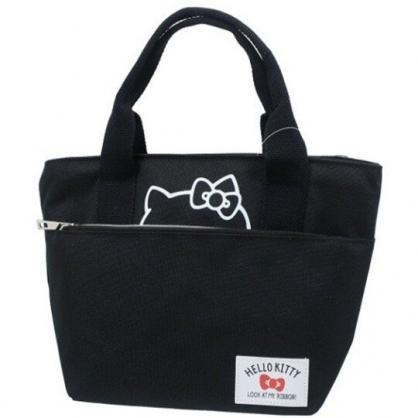 小禮堂 Hello Kitty 便當袋 手提袋 保冷袋 野餐袋 帆布雙層 (黑 半臉)