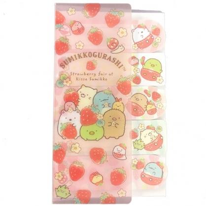 小禮堂 角落生物 日製 N次貼 便利貼 自黏標籤 標籤貼 附收納夾 (粉 草莓)
