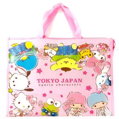 小禮堂 Snrio大集合 大型購物袋 防水 棉被袋 衣物收納袋 側背袋 (粉白 櫻花)