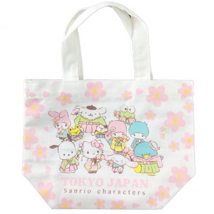 小禮堂 Sanrio大集合 側背袋 肩背袋 手提袋 書袋 直式帆布 (粉白 櫻花)