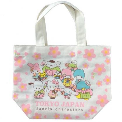 小禮堂 Snaio大集合 手提袋 便當袋 外出袋 帆布袋 (米粉 櫻花)