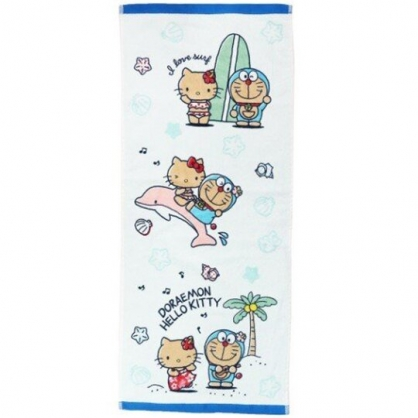 小禮堂 Hello Kitty x 哆啦A夢 長毛巾 長巾 純棉 割絨 34x80cm (藍白 沙灘)