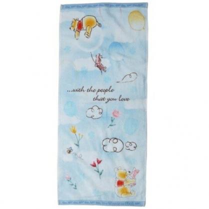 小禮堂 迪士尼 小熊維尼 長毛巾 長巾 純棉 割絨 34x80cm (藍黃 抱抱)