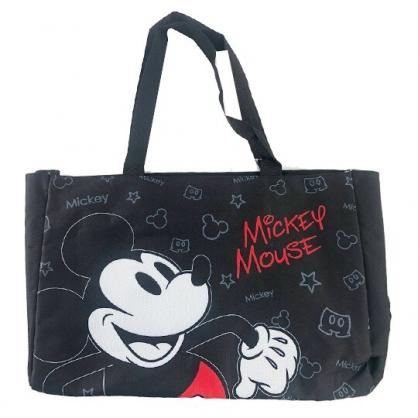小禮堂 迪士尼 米奇 側背袋 托特包 肩背袋 購物袋 橫式尼龍 (黑 半身)