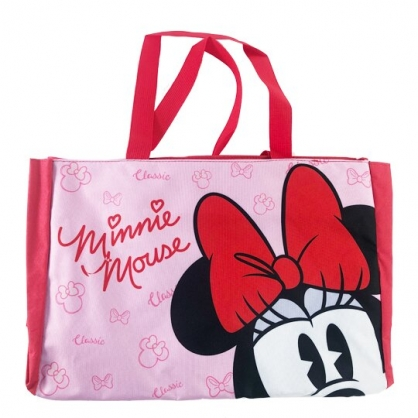 小禮堂 迪士尼 米妮 側背袋 托特包 肩背袋 購物袋 橫式尼龍 (紅 半臉)