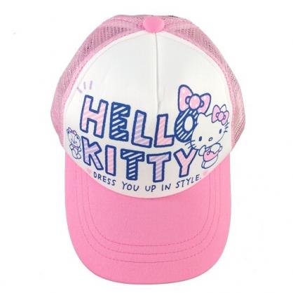小禮堂 Hello Kitty 棒球帽 兒童帽 鴨舌帽 遮陽帽 網帽 休閒帽 (粉白 2020夏日服飾)