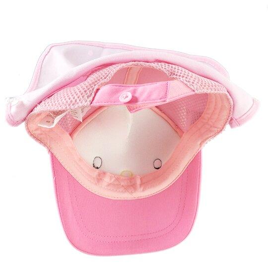 小禮堂 Hello Kitty 遮陽帽 兒童帽 防曬帽 鴨舌帽 棒球帽 (粉白 2020夏日服飾)