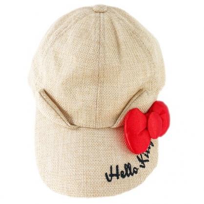 小禮堂 Hello Kitty 鴨舌帽 兒童帽 籐編帽 棒球帽 遮陽帽 草帽 (棕 2020夏日服飾)