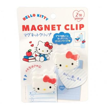 小禮堂 Hello Kitty 磁鐵夾 吸鐵夾 夾子 事務夾 銅板小物 (2入 白 大臉)