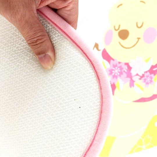 小禮堂 迪士尼 小熊維尼 腳踏墊 方形 吸水踏墊 浴室地墊 止滑海綿 45x65cm (粉黃 櫻花)