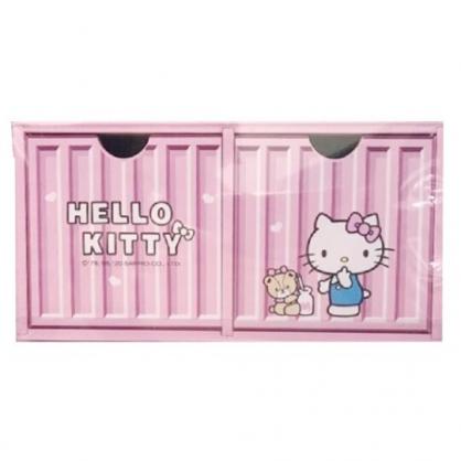 小禮堂 Hello Kitty 木製收納盒 橫式 雙抽 抽屜盒 置物盒 貨櫃造型 (粉)