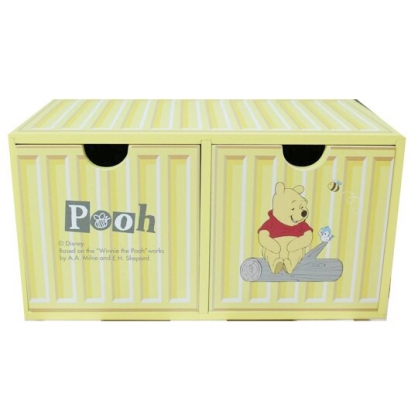 小禮堂 迪士尼 小熊維尼 木製收納盒 橫式 雙抽 抽屜盒 置物盒 貨櫃造型 (黃)