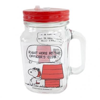 小禮堂 史努比 透明梅森杯 玻璃杯 吸管杯 飲料杯 單耳 附蓋 500ml (紅盒 狗屋)